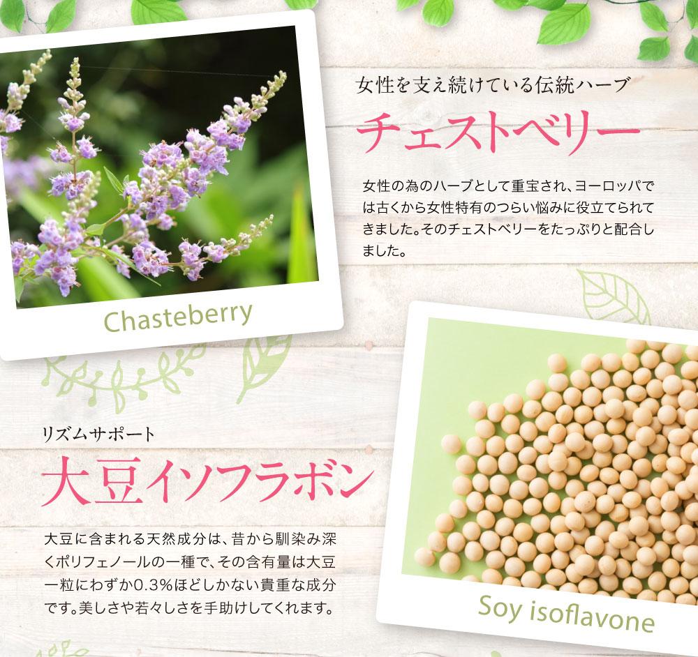 女性のホルモンバランスを正常化するチェストベリー。女性ホルモンの分泌不足をサポートする大豆イソフラボン。