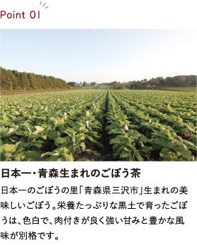 日本一・青森生まれのごぼう茶 日本一のごぼうの里「青森県三沢市」生まれの美味しいごぼう。栄養たっぷりな黒土で育ったごぼうは、色白で、肉付きが良く強い甘みと豊かな風味が別格です。